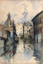 Frank Will, canal à Montargis, aquarelle