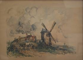 Frank Will, le moulin, aquarelle