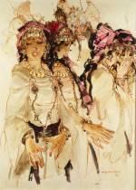 Gaston Mantel, danseuses et cavaliers, tableau