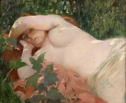 Georges Antoine Rochegrosse, jeune femme alanguie, tableau