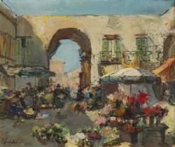 Georges Lapchine, marché aux fleurs à Nice, tableau