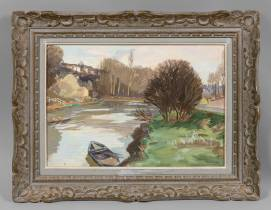 Henri Pailler, barque sur le rivière, tableau