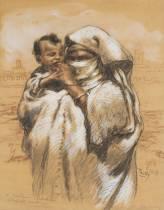 Henri Pontoy, dessin, femme et enfant