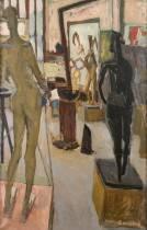 Jacques Boussard, dans l'atelier de Germaine Richier, tableau