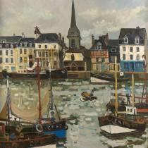 Jacques Bouyssou, le port de Honfleur, tableau,