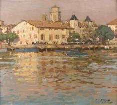 François Maurice Roganeau, port de Saint Jean de Luz, tableau