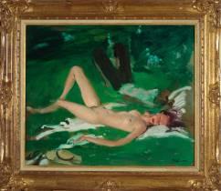 Jean Gabriel Domergue, nu sur l'herbe, tableau