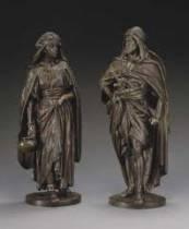Jean Jules Salmson, la porteuse, le guerrier arabe, bronze