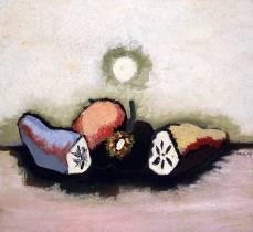 Jean Lurçat, trois fruits coupés, tableau