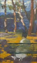 Jean Peske, jeune femme assise, tableau