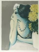 Jean Pierre Cassigneul, jeune femme au collier, estampe