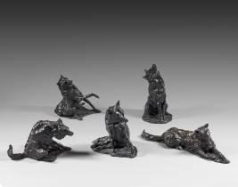Jose maria David, les cinq loups, bronze