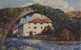 Louis Floutier, maison et pont, tableau