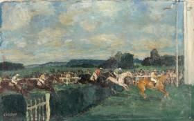 Marcel Cosson, scène de courses, tableau