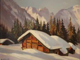 Marcel Wibault, chalets sous la neige, tableau