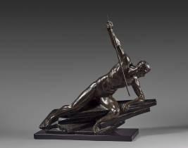 Maurice Guiraud Rivière, bronze, le pêcheur