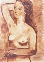 Maurice Savin, femme se coiffant, dessin