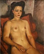 François Eberl, femme au fauteuil rouge, tableau