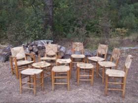Charlotte Perriand, ensemble chaises et tabourets