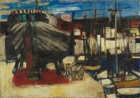 Paul Guiramand, bateaux à quai, tableau