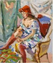 Pierre Cornu, jeune fille aux bas rouges