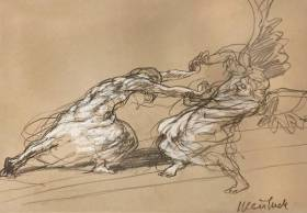 Claude Weisbuch, duel avec l'ange, dessin