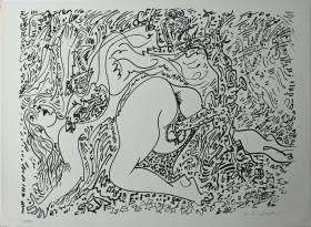 André Masson, lithographie, scène érotique