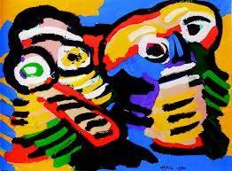 Karel Appel, deux figures, tableau