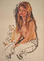 Pierre Laurent Brenot, jeune fille à la poupée, lithographie