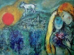 Marc Chagall, les amoureux, lithographie