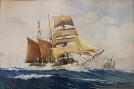 Roger Chapelet, trois mâts, aquarelle