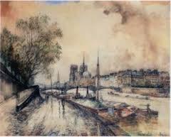 Frank Will, quai de Jussieu, aquarelle