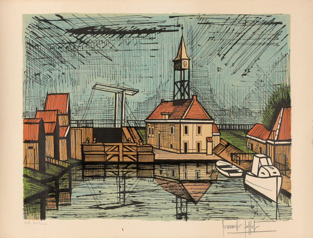 Bernard Buffet, au port, lithographie