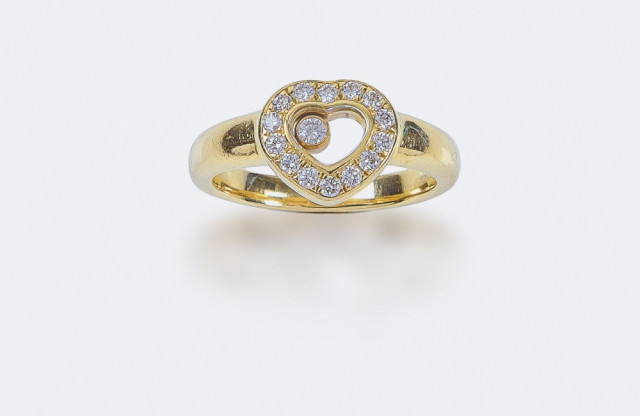 Chopard, bague or Happy Diamond
