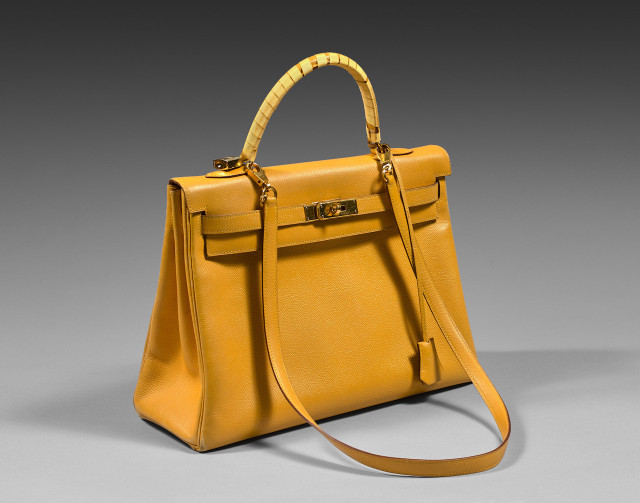 Hermes, sac Kelly en veau Courchevel jaune