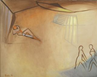 Francisco Bores, trois personnages, tableau