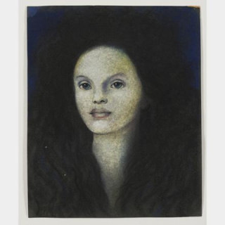 Léonor FINI(1907-1996) - Tête de femme, 1980 - Huile sur papier