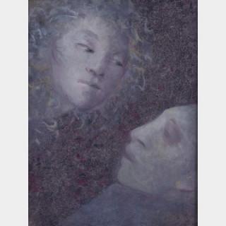 Léonor FINI (1907-1996) - Colloque entre Monos et Una, 1987 - Huile sur papier marouflée sur toile