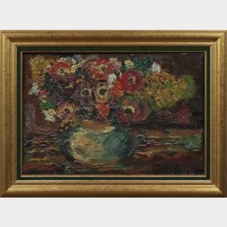 Pierre AMBROGIANI (1907-1985) - Bouquet de fleurs - Huile sur panneau
