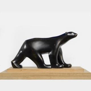 François POMPON (1874-1931) - Ours blanc, 1927 - Bronze patine noire nuancée d'or