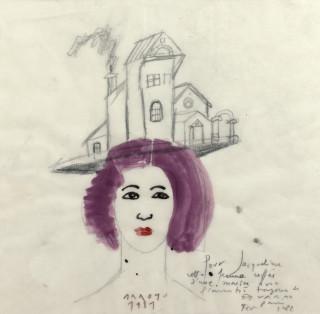 Eduardo Arroyo, portrait de jeune femme, aquarelle et crayon