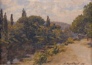 Alexandre Roubtzoff, paysage à Croissy, tableau