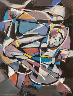 André Lanskoy, composition, gouache sur papier