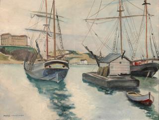 André Verdilhan, bateaux au port, vente aux enchères