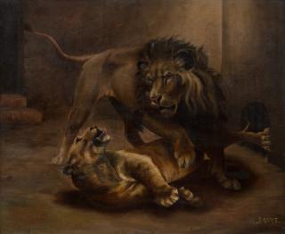 Antoine Louis Barye, couple de lions, tableau