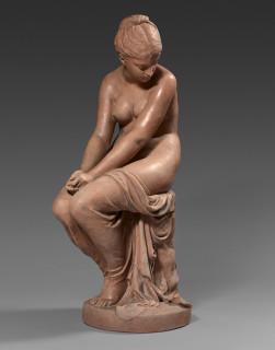 Auguste Peiffer, nus assis, scupture