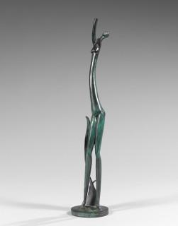 Bela Voros, jeune femme aux bras levés, bronze