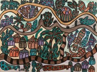 Baya, paysage aux poissons, aquarelle et gouache