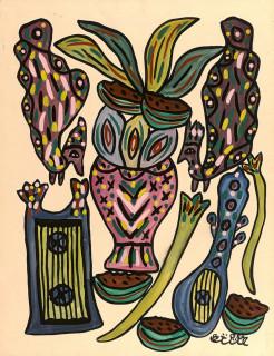 Baya, vase de fleurs, gouache, vente aux enchères