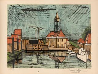 Bernard Buffet, au port, lithographie
